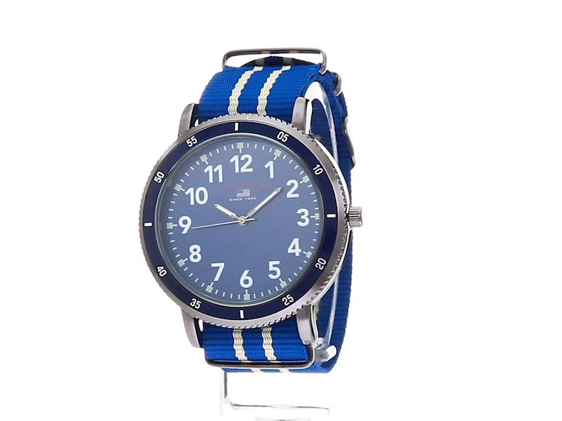 U.S. Polo Assn. Men's Stainless Steel Quartz Watch with Nylon Strap, Blue, 24 (Model: US7008)