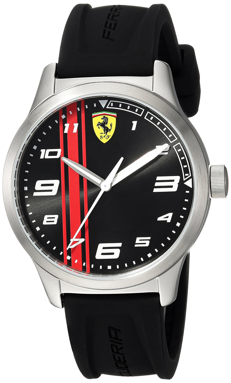 Ferrari Boy's Pitlane Quartz Stainless Steel and Silicone Strap Casual Watch, Color: Black (Model: 810015)