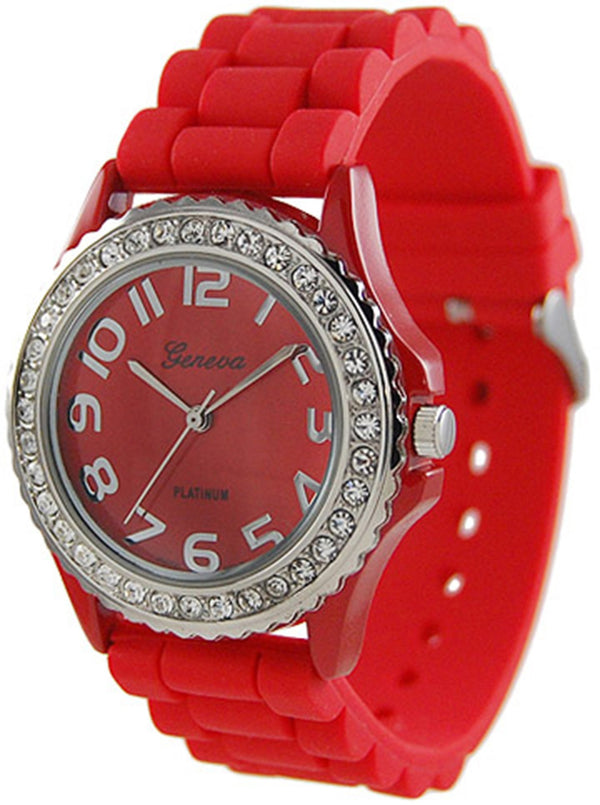 Red Rhinestone Accented Watch