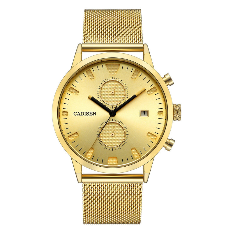 CADISEN Chronograph Luxury Gold Classic Waterproof 43mm case Quartz Mens Watches with Steel Mesh Band C2023MGGG