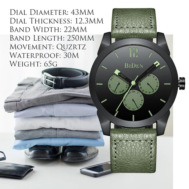 Mens Fashion Watch Casual Style Genuine Leather Band Quartz Water Resistant Wrist Watch Day-Date Multi-Function Clock