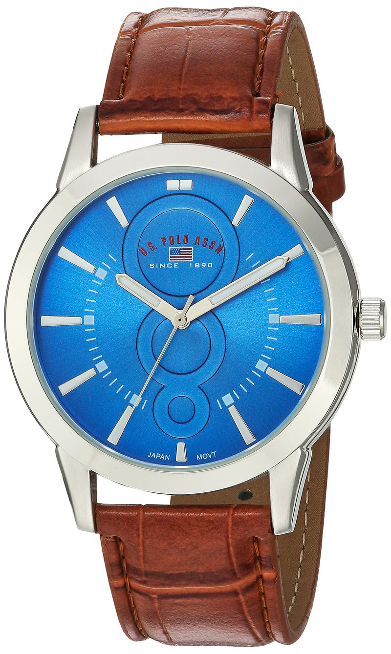 U.S. Polo Assn. Men's Analog-Quartz Watch with Leather-Synthetic Strap, Brown, 20 (Model: US5226)