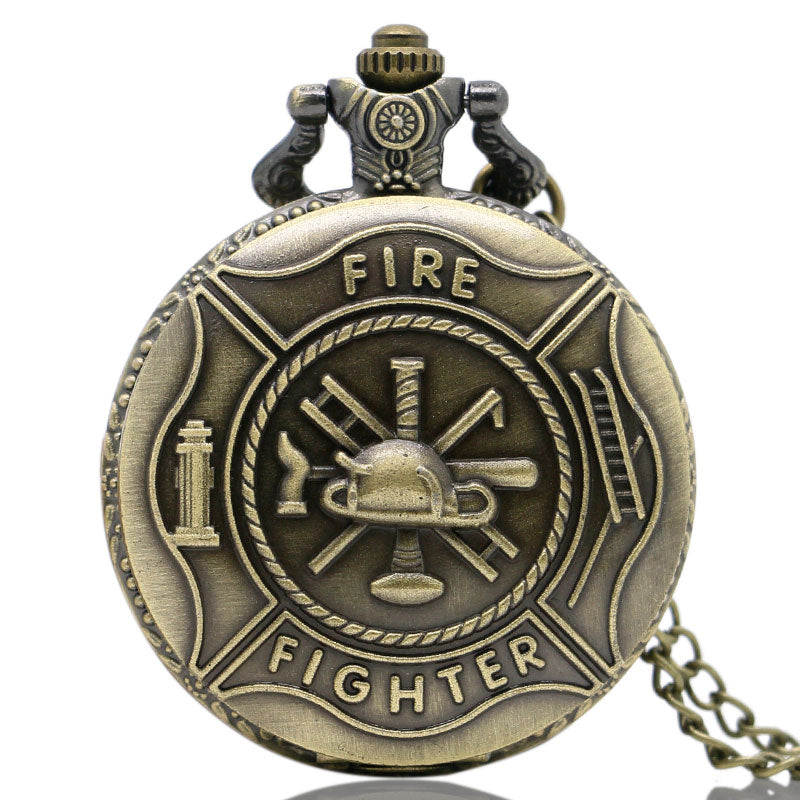Fire Fighter Theme 3D Bronze Fob Quartz Pocket Watches with Necklace Chain Fashion Pendant Gift for Men Children