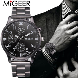 MiGeeR Bracelet men stainless steel mesh wristwatch