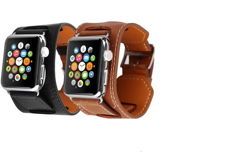 Fashion Strap for Apple Watch Cuff band 42mm 38mm 40mm 44mm Bracelet Leather seriese 1/2/3/4