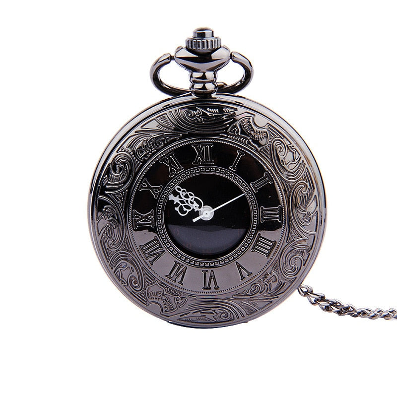 Fob Pocket Watch Vintage Charm Black Roman Fashion Quartz Steampunk Pocket Watch Unisex  Necklace  Pendant with Chain Gifts
