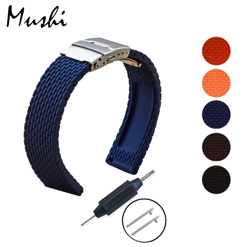 MS Silicone Watchband Diver Watch Band Rubber Strap with Deployment Buckle Clasp 18mm 20mm 22mm 24mm