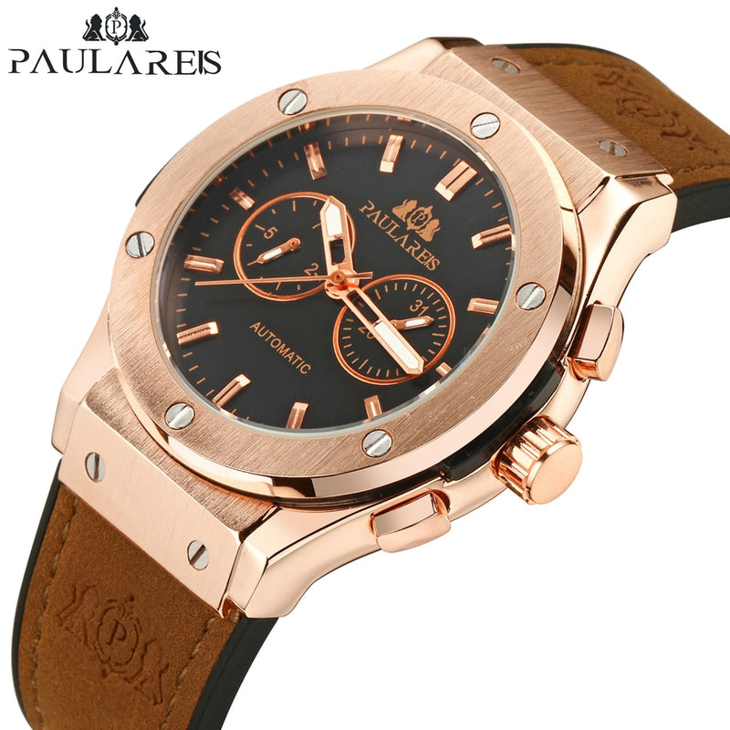 Paulareis Men Automatic Self Wind Mechanical Rose Gold Silver Black Case Brown Leather Rubber Strap Casual Sports