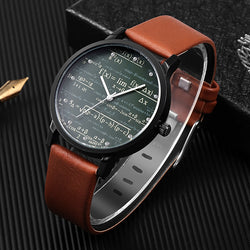 Miler Mens watch leather quartz Mathe matical formula prints fashion wrist watch men causal