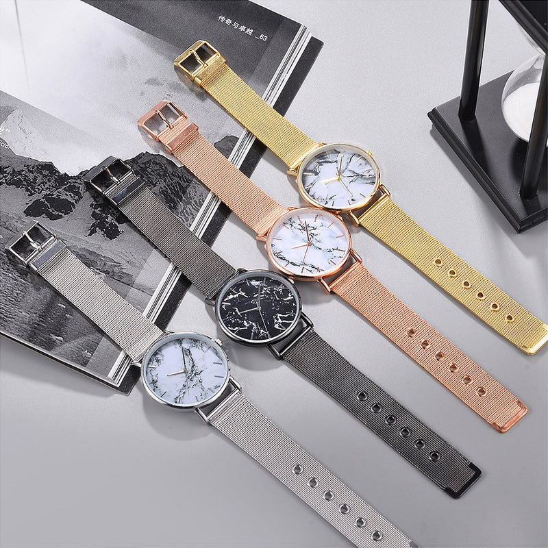 Ladies Casual  Marble Texture Design Wrist Watch  with Stainless Steel Band Strap