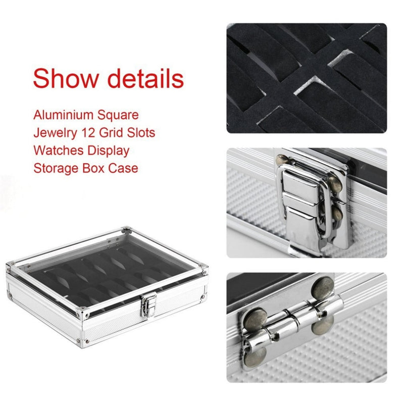 OUTAD Professional 12 Grids Watch Box Jewelry Display Storage Square Case Aluminium Suede Inside Container Watch Case