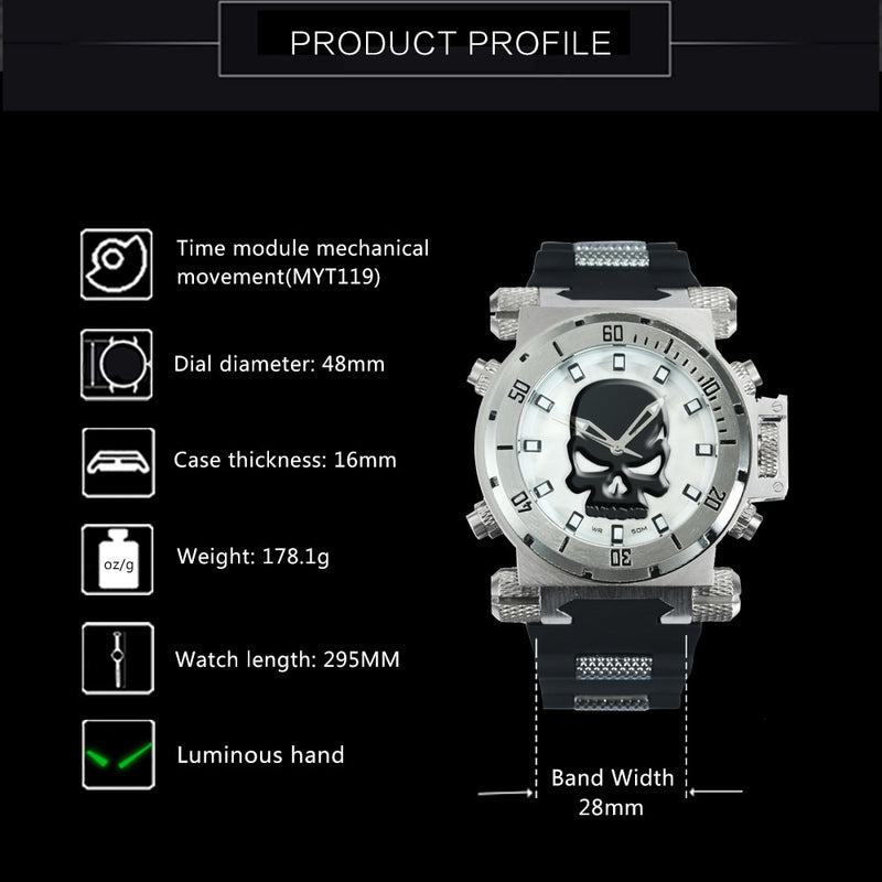 WINNER  Punk Skull Watches Men  Big Case Sports Sport Watch for Man with  Rubber Strap C