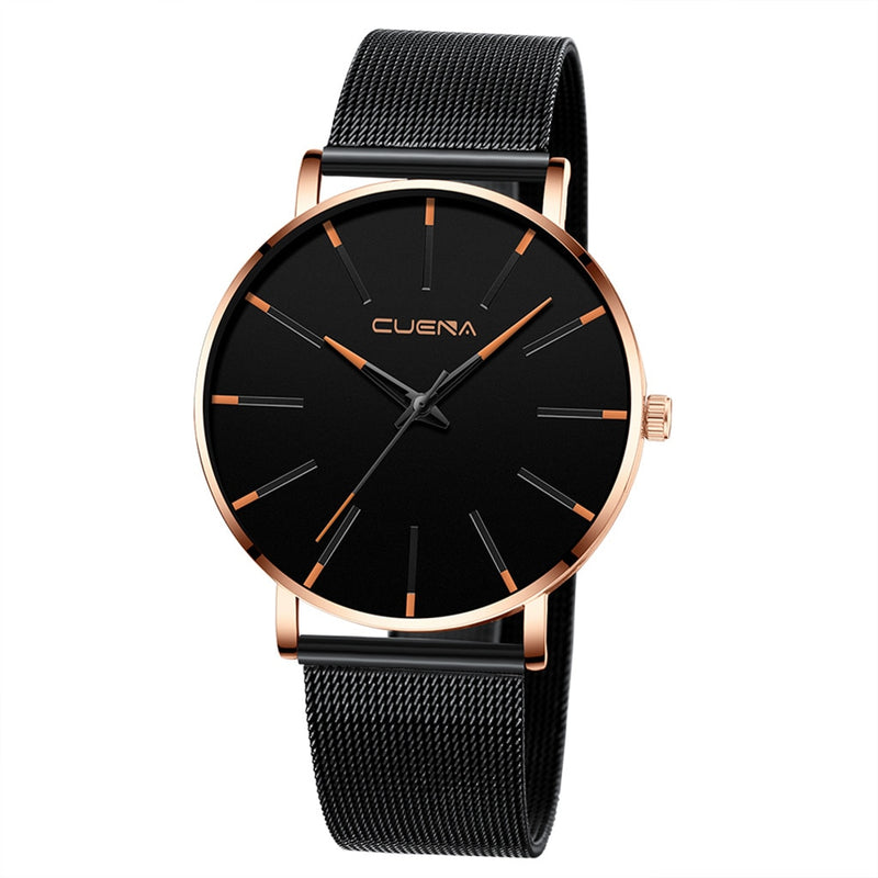 CUENA Men Fashion Military Stainless Steel Analog Sport Quartz Business Wrist Watch