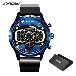 SINOBI Car Creative Men Watch  Speed Racing Sport Time Chronograph Silicone Quartz Wristwatch