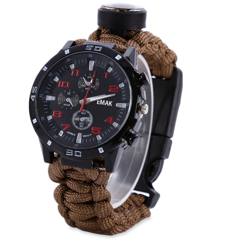 Multifuctional 6 in 1 Outdoor Survival Watch