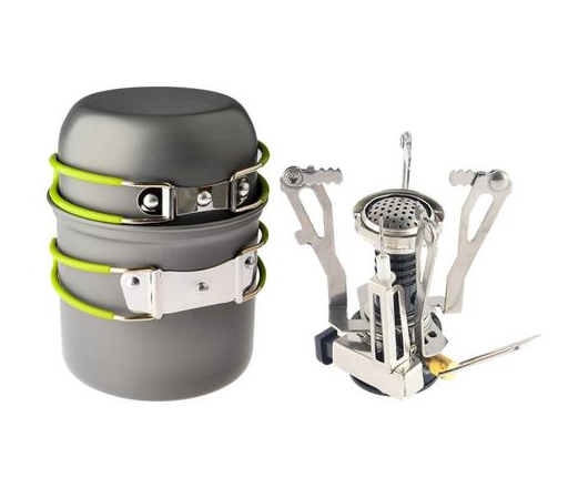 Camping, Hiking and Backpacking Stove Set Pot Pan And Piezo Ignition Stove