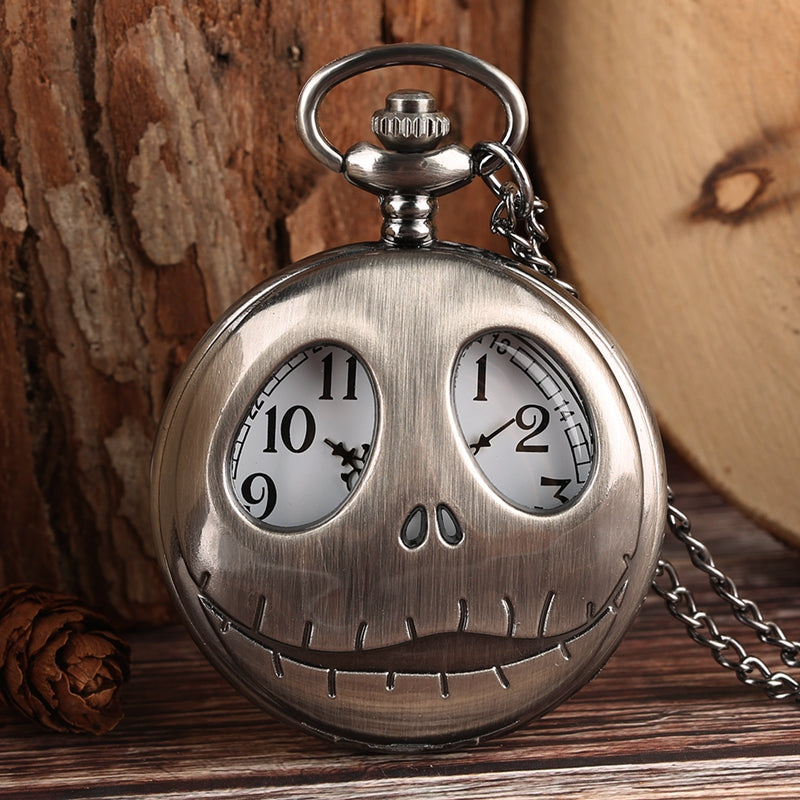 Tim Burton The Nightmare Before Christmas Quartz Pocket Watch Retro Frog Big Eyes Jack Skellington Necklace Pendant Skull Watch