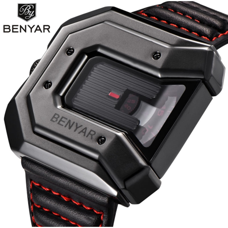 BENYAR new creative watch for men's  with leather multi purpose waterproof luxury business watch sports men's watch