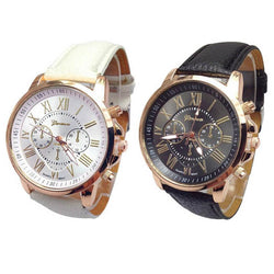 Geneva Unisex Watch 2pcs  Numerals Leather Black White  Casual  Couples