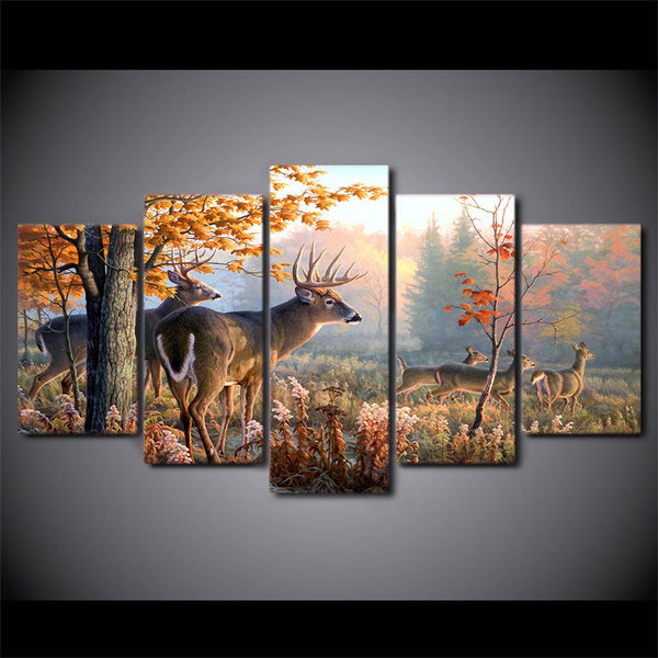 5 Piece White Tail Canvas