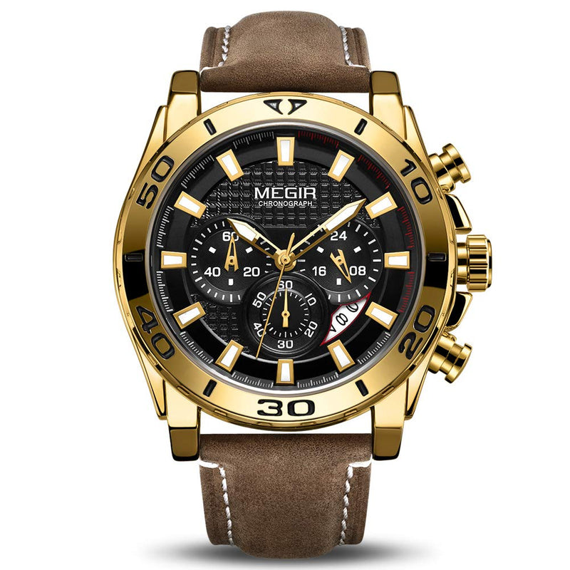 MEGIR Men's Analog Fashion Casual Military Chronograph Rectangular Luminous Quartz Wrist Watch with Leather Strap for Business Work & Sports