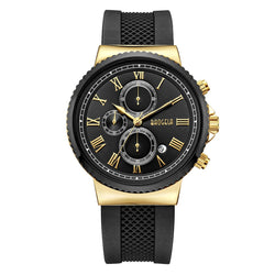 Men's Fashion Military Chronograph Analog Quartz Watch with Silicone Band Waterproof