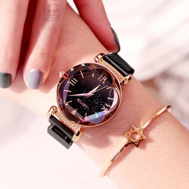 Luxury Women Watches Fashion Elegant Magnet Buckle Vibrato Purple Ladies Wristwatch 2019 New Starry Sky Roman Numeral Gift Clock