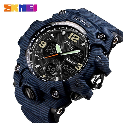 SKMEI Men's Digital Sports Watch, Military Waterproof Watches LED Screen Large Face Stopwatch Alarm Wristwatch