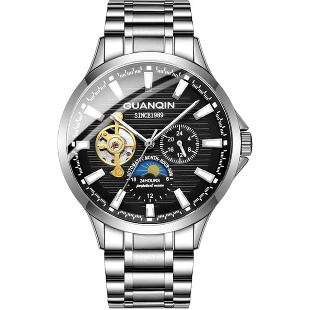 GUANQIN 2019 business watch men  Automatic Luminous clock Tourbillon waterproof Mechanical watch