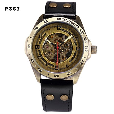 Skeleton Mechanical Watch for  Men Steampunk Bronze Transparent Automatic Mechanical Wrist Watches