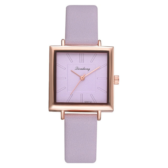 Ladies Dress Square Watches with Leather strap