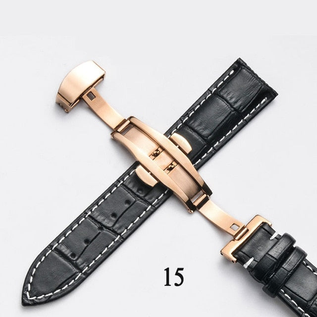 Genuine Leather Watchband With Butterfly Clasp Bands Croco Grain Bracelet for Pulseira Watch sized in 14 16 18 19 20 21 22 24 mm
