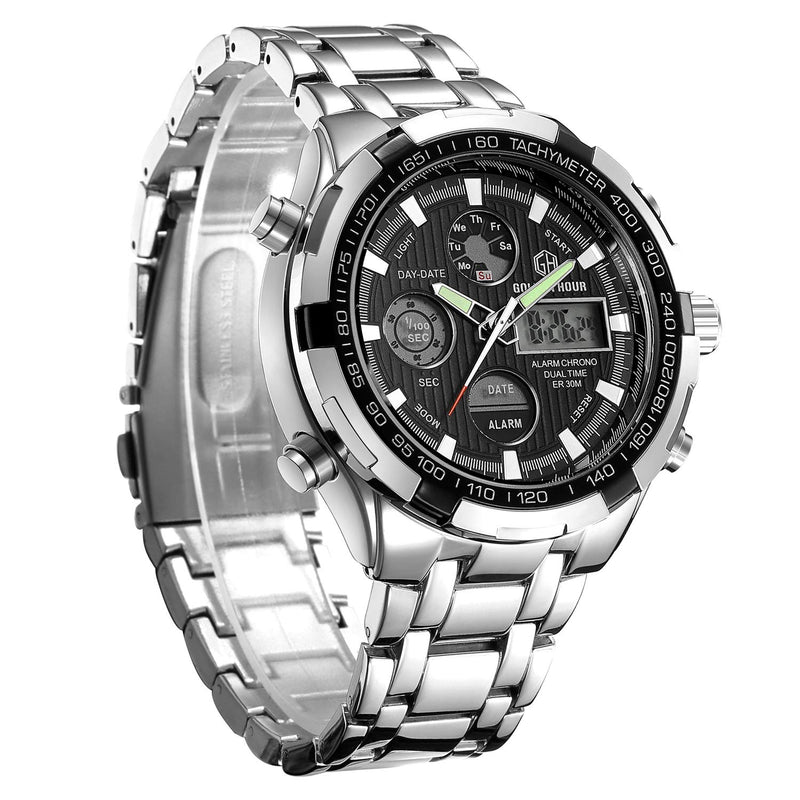 Golden-Hour Men Full Stainless Steel Watch Sport Chronograph Waterproof Casual Wristwatch Digital Analog Dual Display with Date