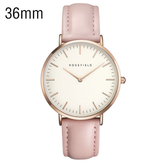 ROSEFIELD Uni-sex Stainless Steel Watches   Luxury Casual Ladies Wrist Watch