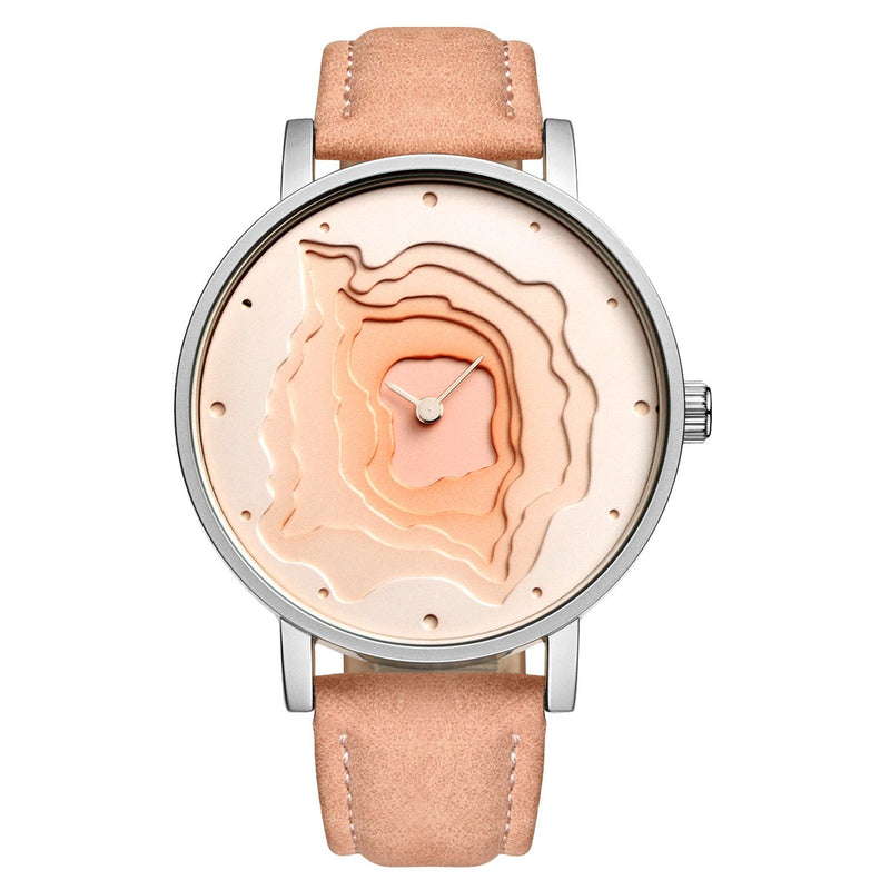 STARKING Women Watches Big Face Leather Strap TM0907 Hollow Quartz Large Band Casual Dress Watch