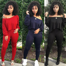 Load image into Gallery viewer, Cold Shoulder Tracksuit 2 Piece Set