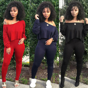 Cold Shoulder Tracksuit 2 Piece Set