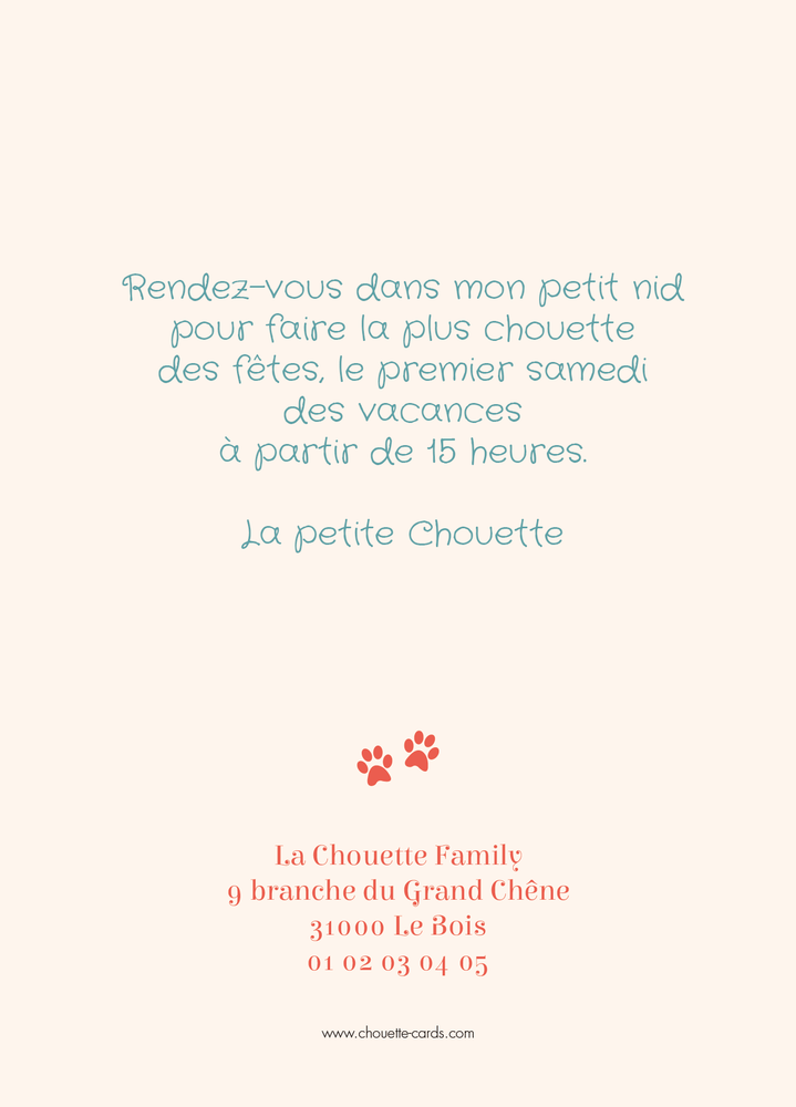 Carte d'invitation Chat Empreintes - Chouette Cards
