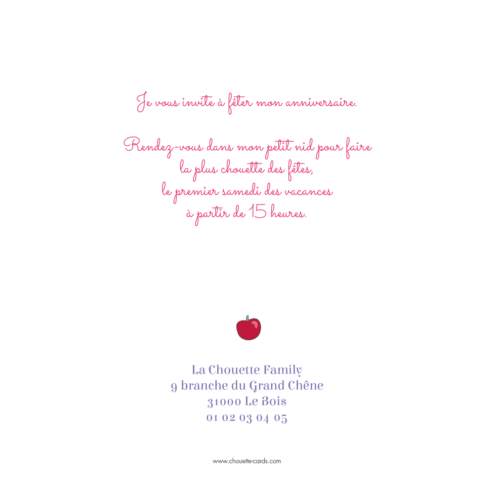 Carte d'invitation Cupcake - Chouette Cards