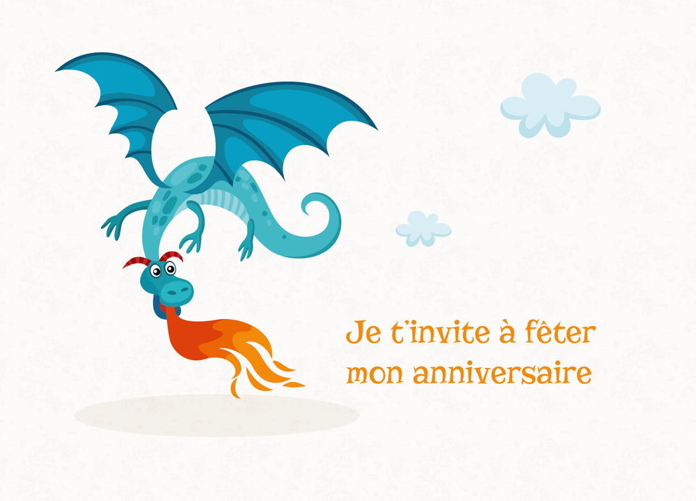 Carte d'invitation Dragon Feu - Chouette Cards