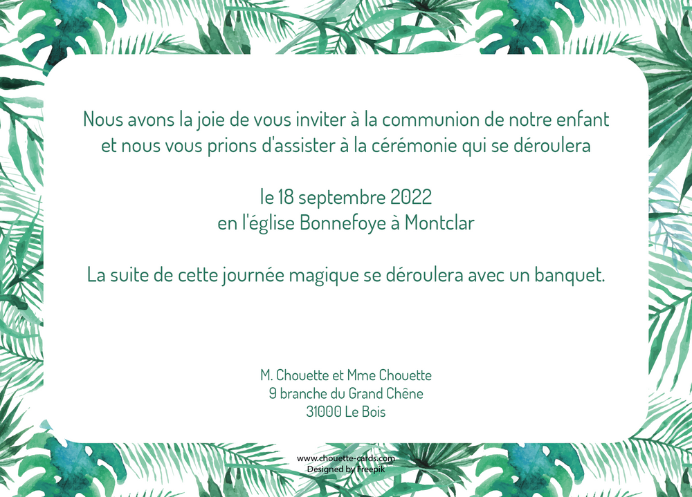 Faire-part de Communion Tropical Feuillage - Chouette Cards