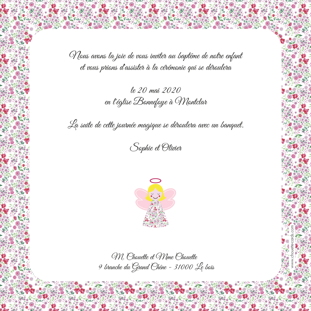 Faire-part de baptême Ange Liberty - Chouette Cards