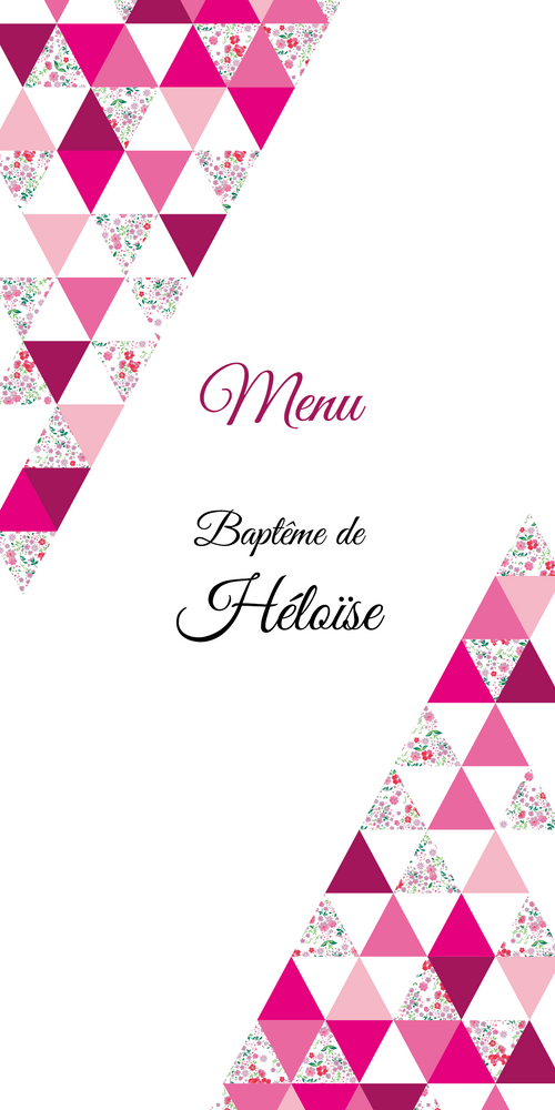 Menu de baptême Triangles Liberty - Chouette Cards