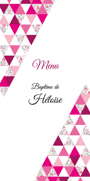 Menu de baptême Triangles Liberty