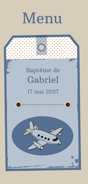 Menu de baptême Avion Retro - Chouette Cards