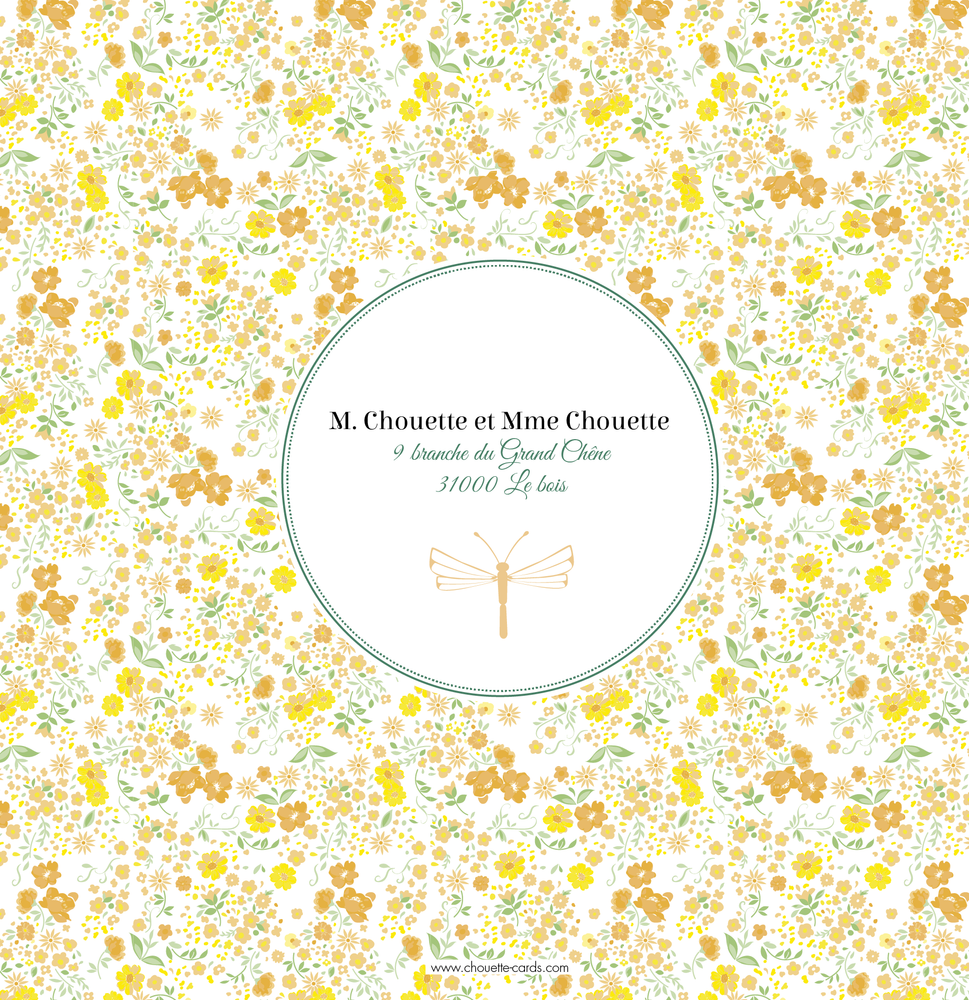 Faire-Part de naissance Liberty Photo jaune - Chouette Cards