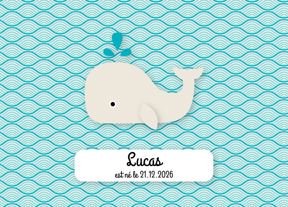 Faire-Part de naissance Baleine 3 photos - Chouette Cards