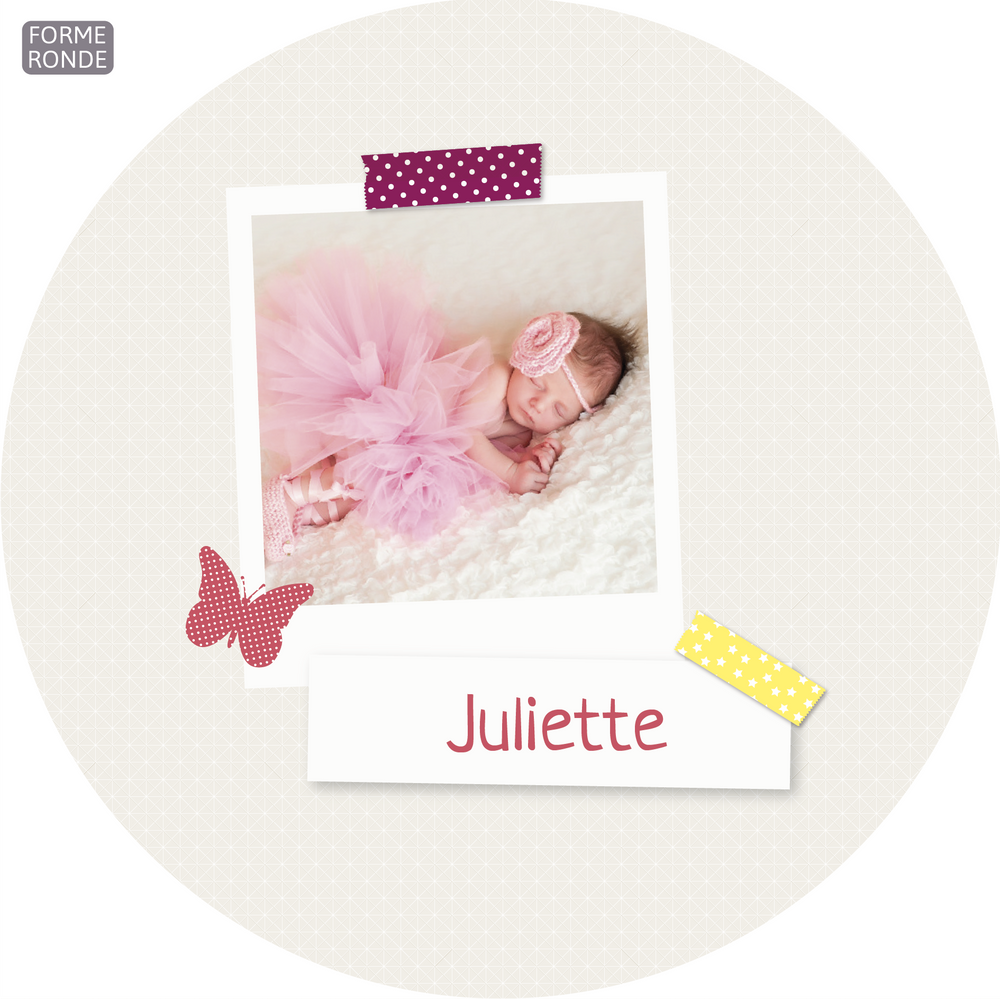 Faire-part de naissance Scrapbooking 2 Photos Rond - Chouette Cards