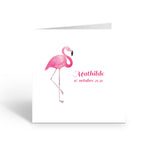 Faire-Part de naissance Flamant Rose Illustré - Chouette Cards