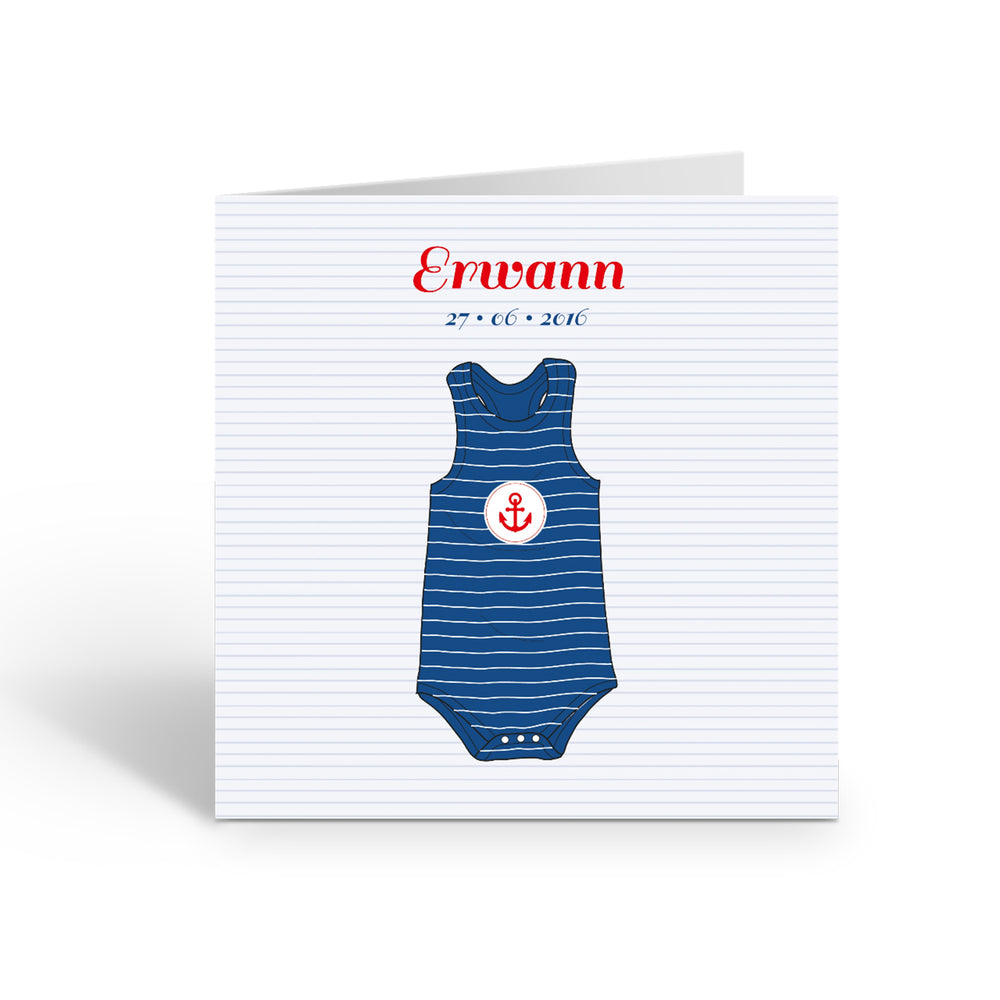 Faire-Part de naissance Marin Body Photo - Chouette Cards